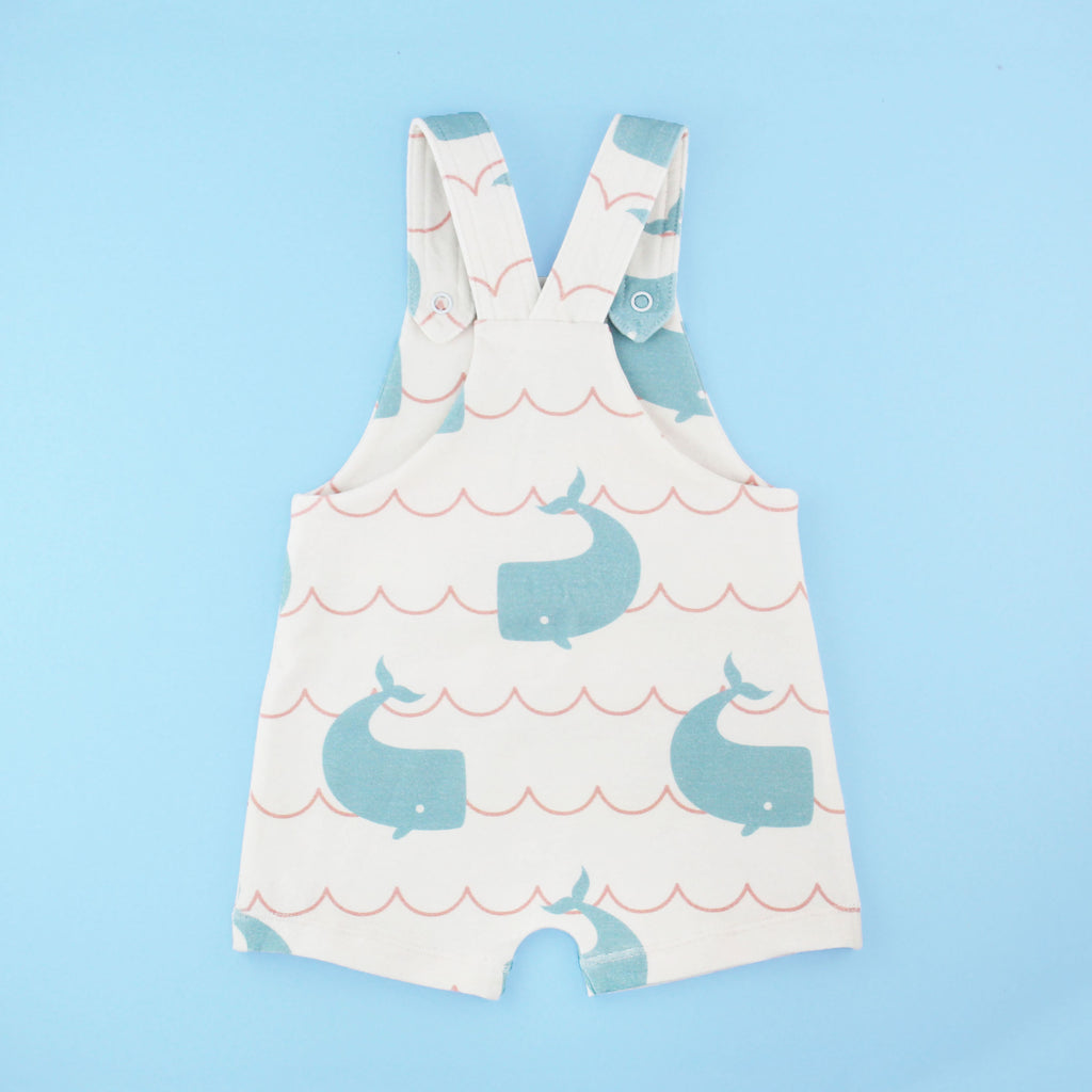 The back of the knit overalls romper pdf sewing pattern on a blue background