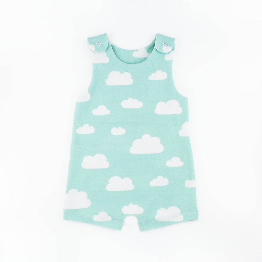 Shorts cloud romper pattern on a white background