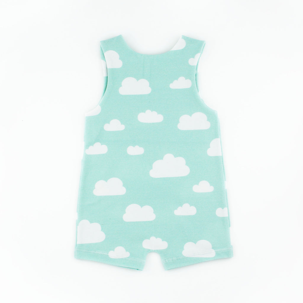 The back of the cloud romper pattern on a white background