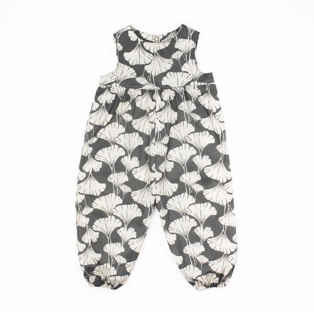 Bubble Pants Romper in Grey Ginkgo leaf print
