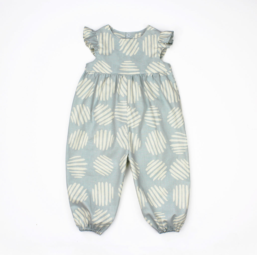 9b06cca03ec6 Flutter Sleeve Bubble Pants Romper in Abstract Blue Fabric