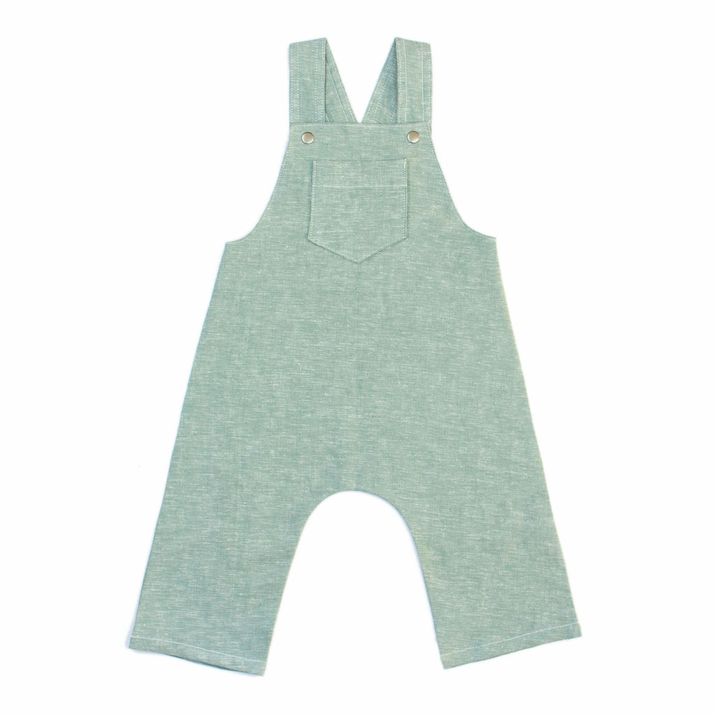 Long Pants Overalls Sewing Pattern in green linen on white background