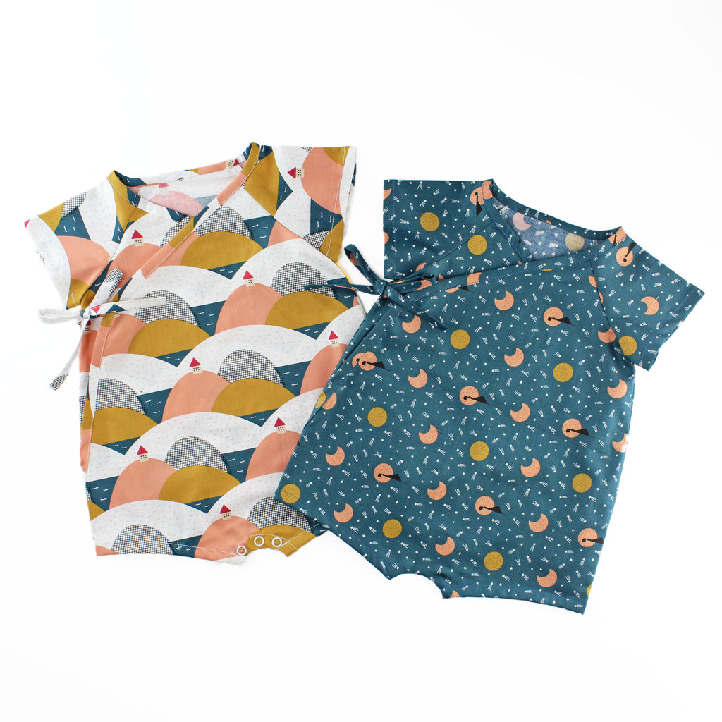 Wrap Up Romper in a Mustard and Coral Mountain Fabric and a Navy Moon Fabric
