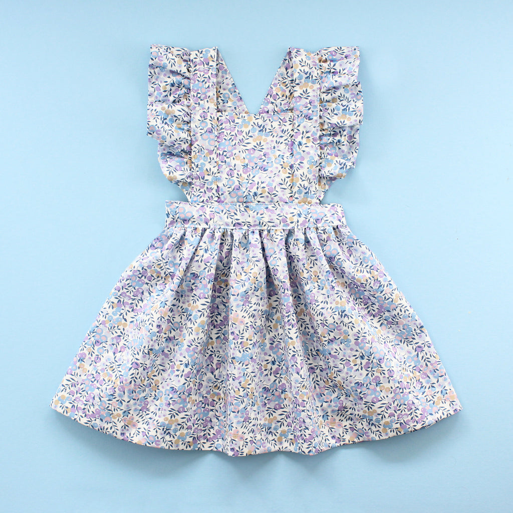 ruffle baby pinafore dress in blue liberty of london fabric