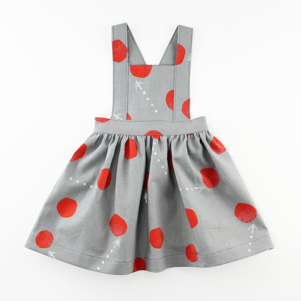 Baby Pinafore Dress in grey linen with red polka dots
