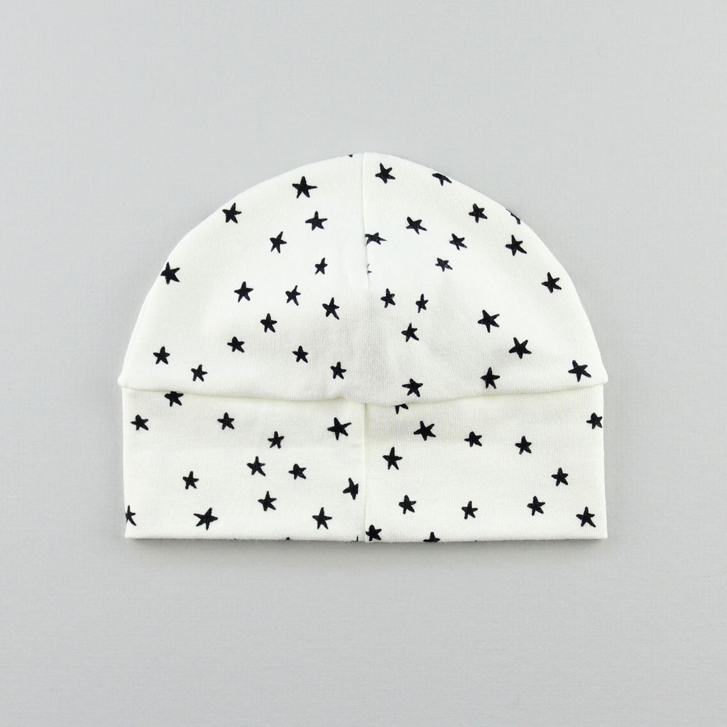 the back of the star baby hat