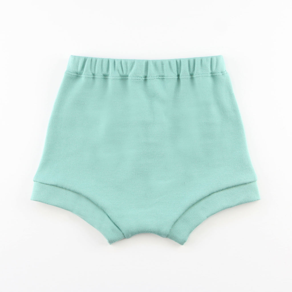 back of teal baby bummie shorts on a white background