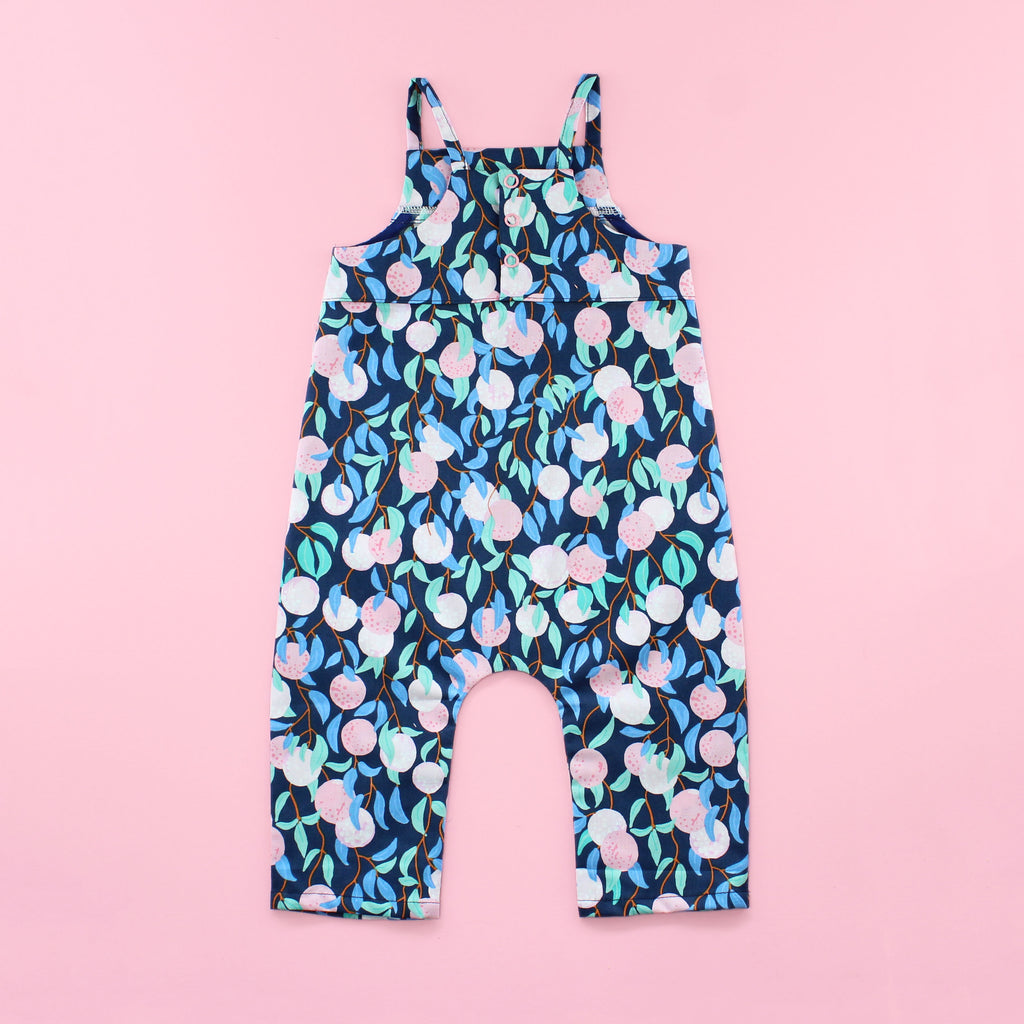 Back of Poppy Romper Sewing Pattern with No Ruffle and Pants