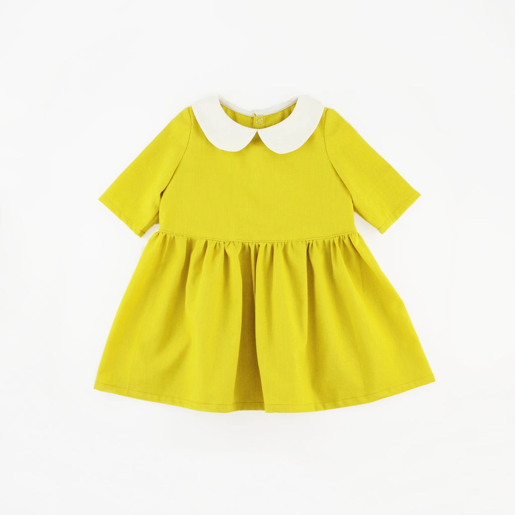 Mustard Yellow Long Sleeve Peter Pan Collar Dress on a White Background