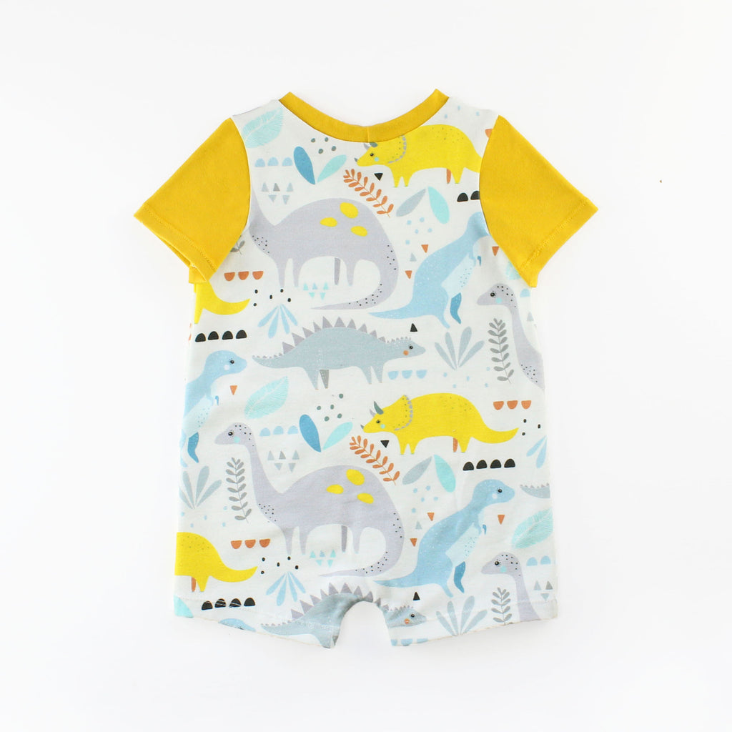 Back of T-Shirt Romper in Dinosaur Fabric with a Yellow Sleeve and Band