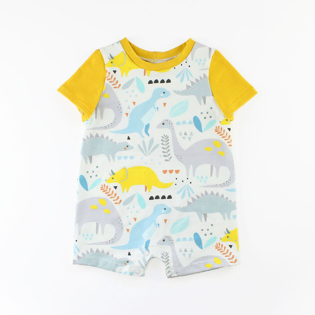 T-Shirt Romper in Dinosaur Fabric with a Yellow Sleeve and Band