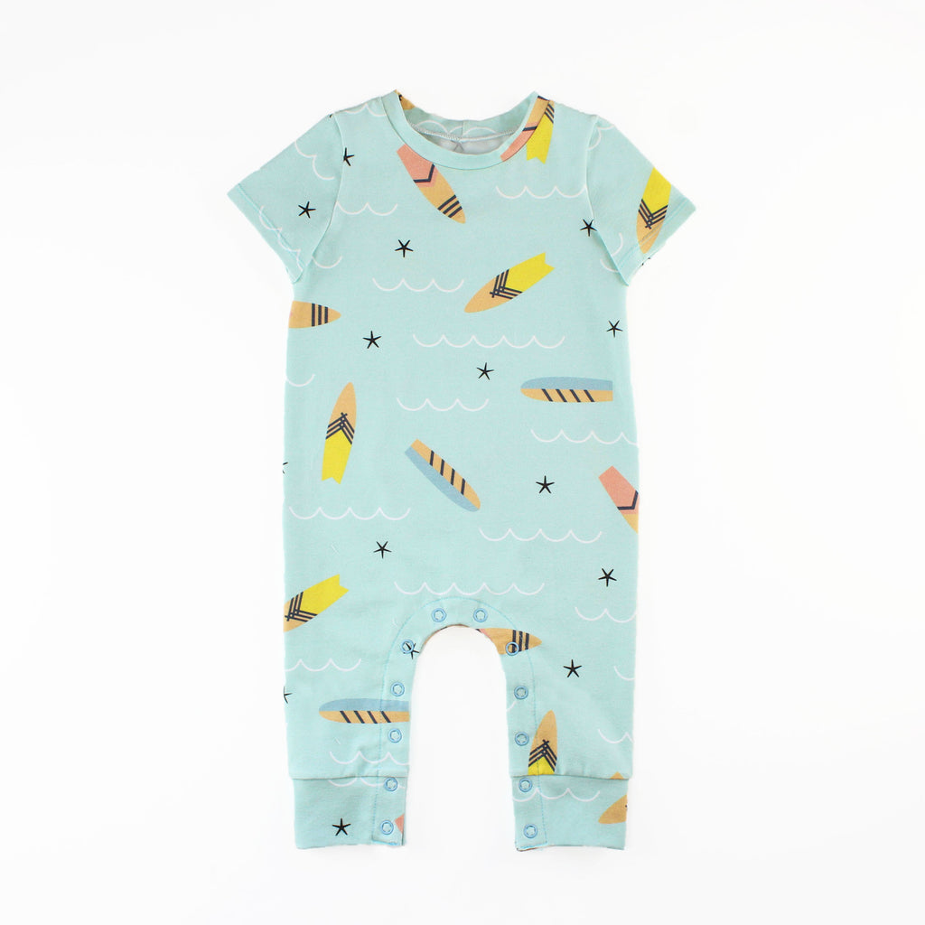 Tee Shirt Romper Sewn in Blue Surf Board Fabric