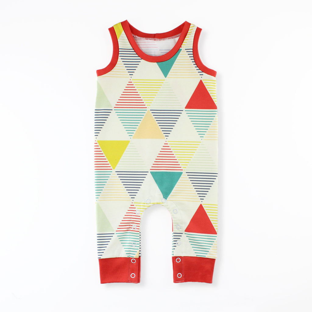 The Tank Top Romper Pattern in a Colorful Geometric Print