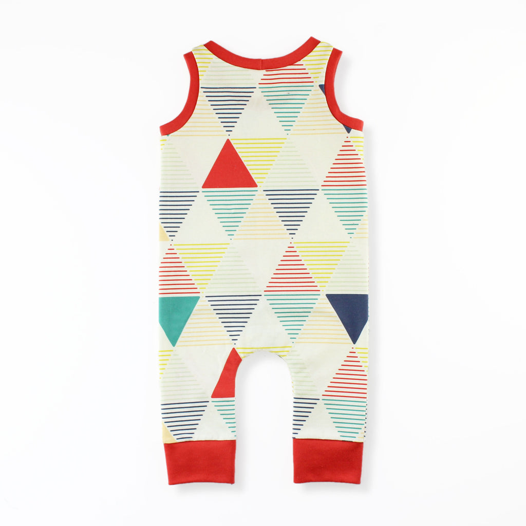 Back of The Tank Top Romper Pattern in a Colorful Geometric Print