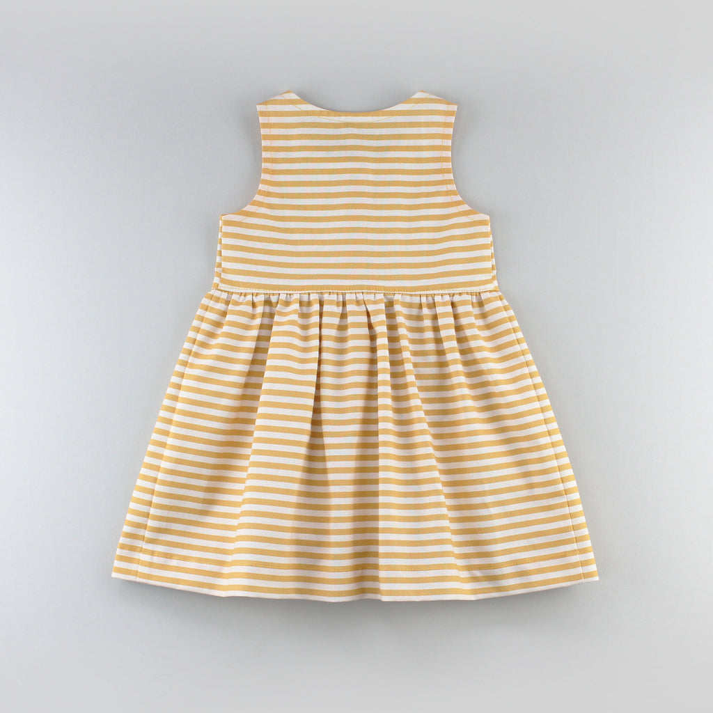 Back of the Sunflower Dress Sewing Pattern in a Yellow Striped Fabric