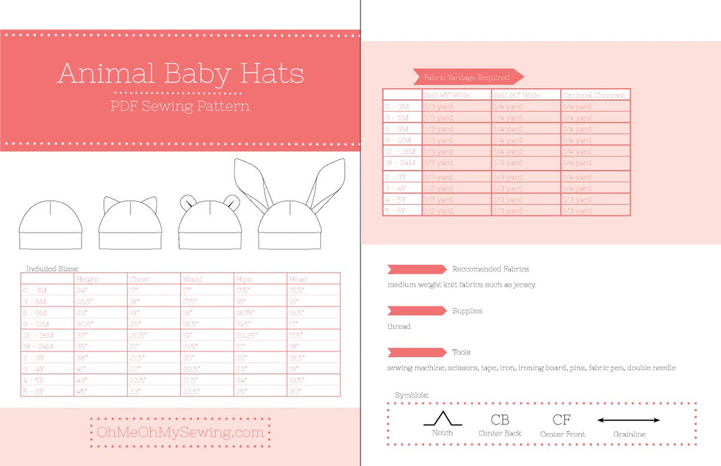 the baby animal hat pdf sewing pattern