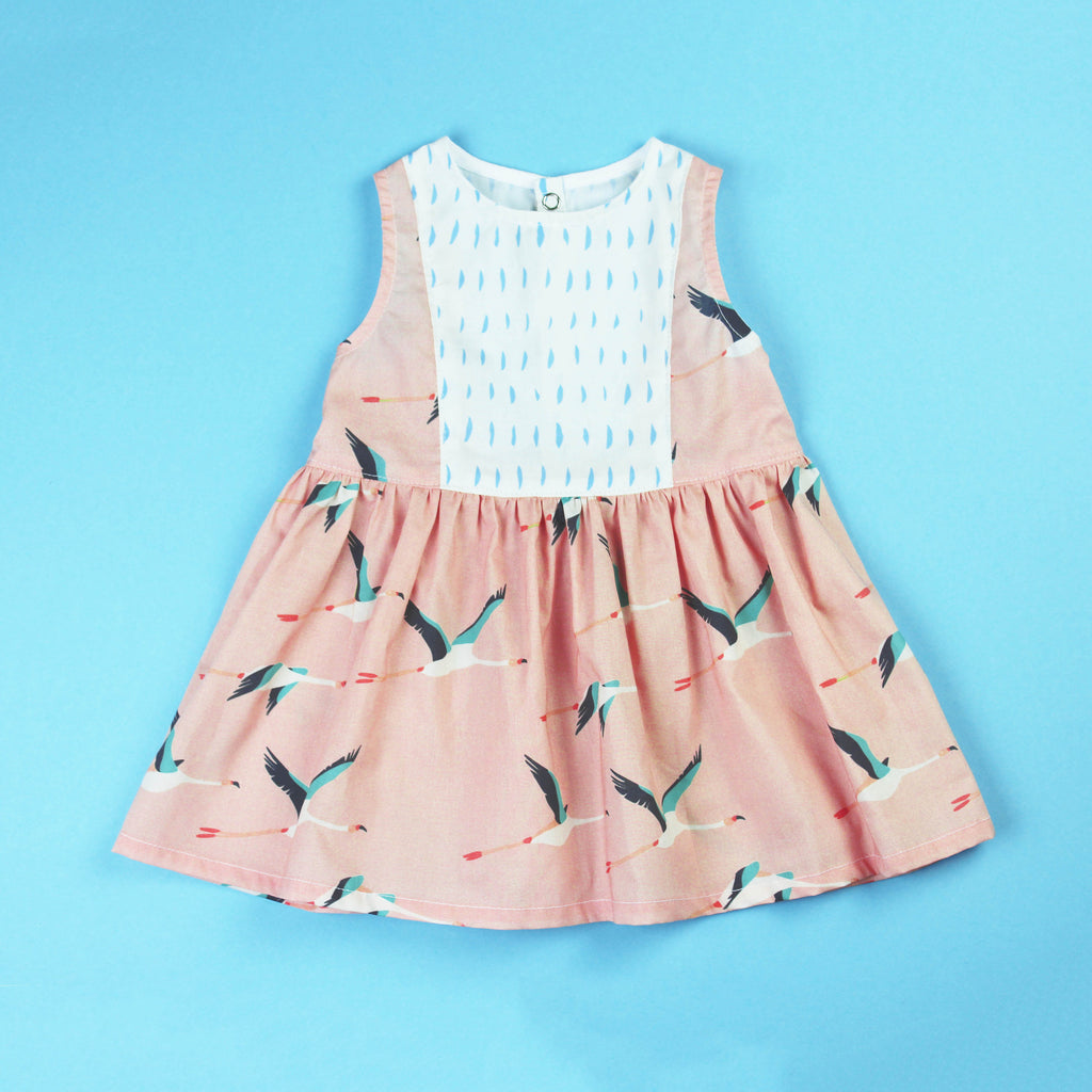 flamingo dress sewing project with boat neckline and contrast panel