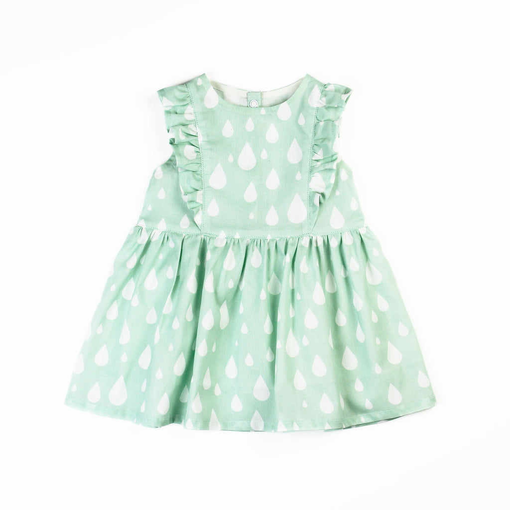 Ruffle Dress in mint green raindrops