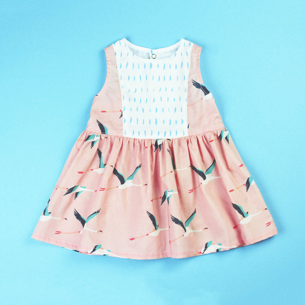 flamingo dress with contrast panel