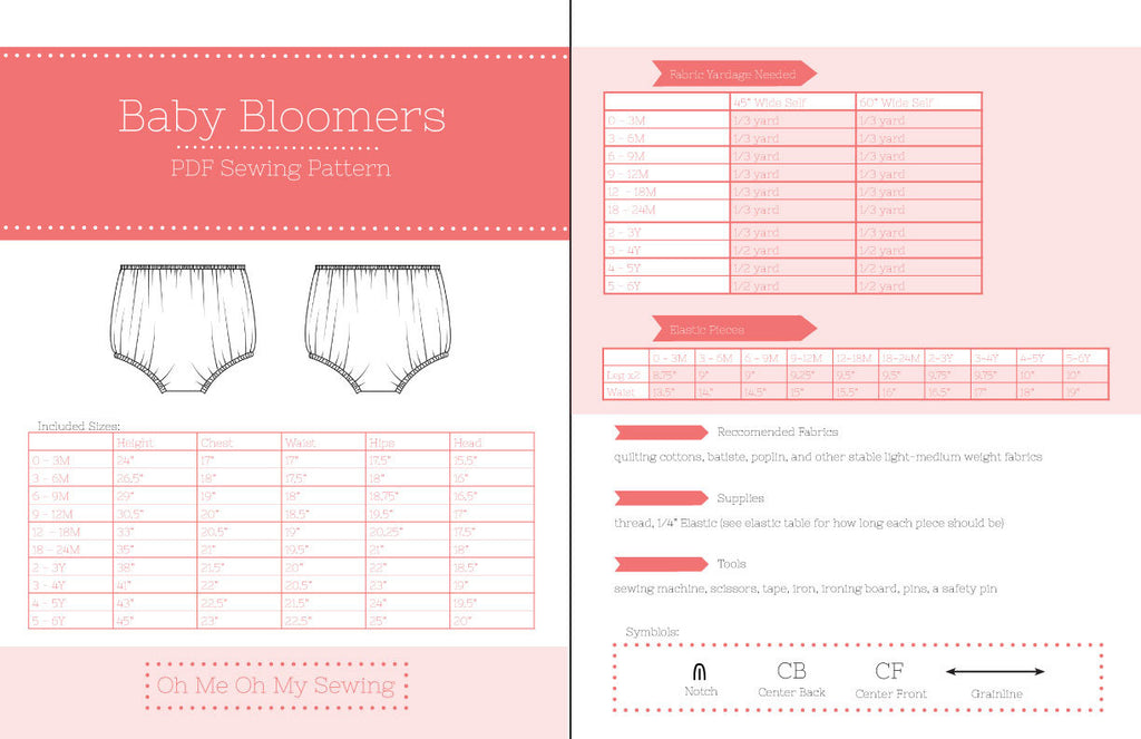 the baby bloomer pdf sewing pattern