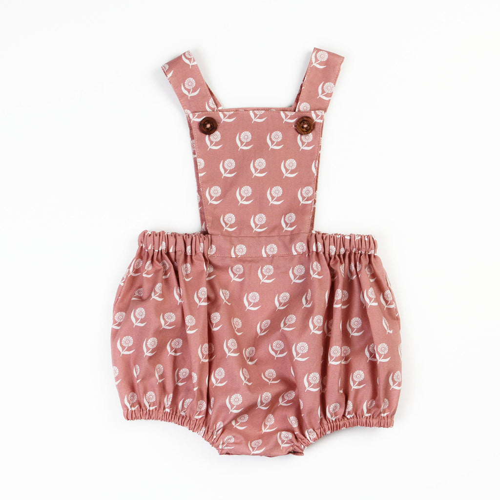 Overall Shortie Sewing Pattern sewn in maroon floral fabric on white background
