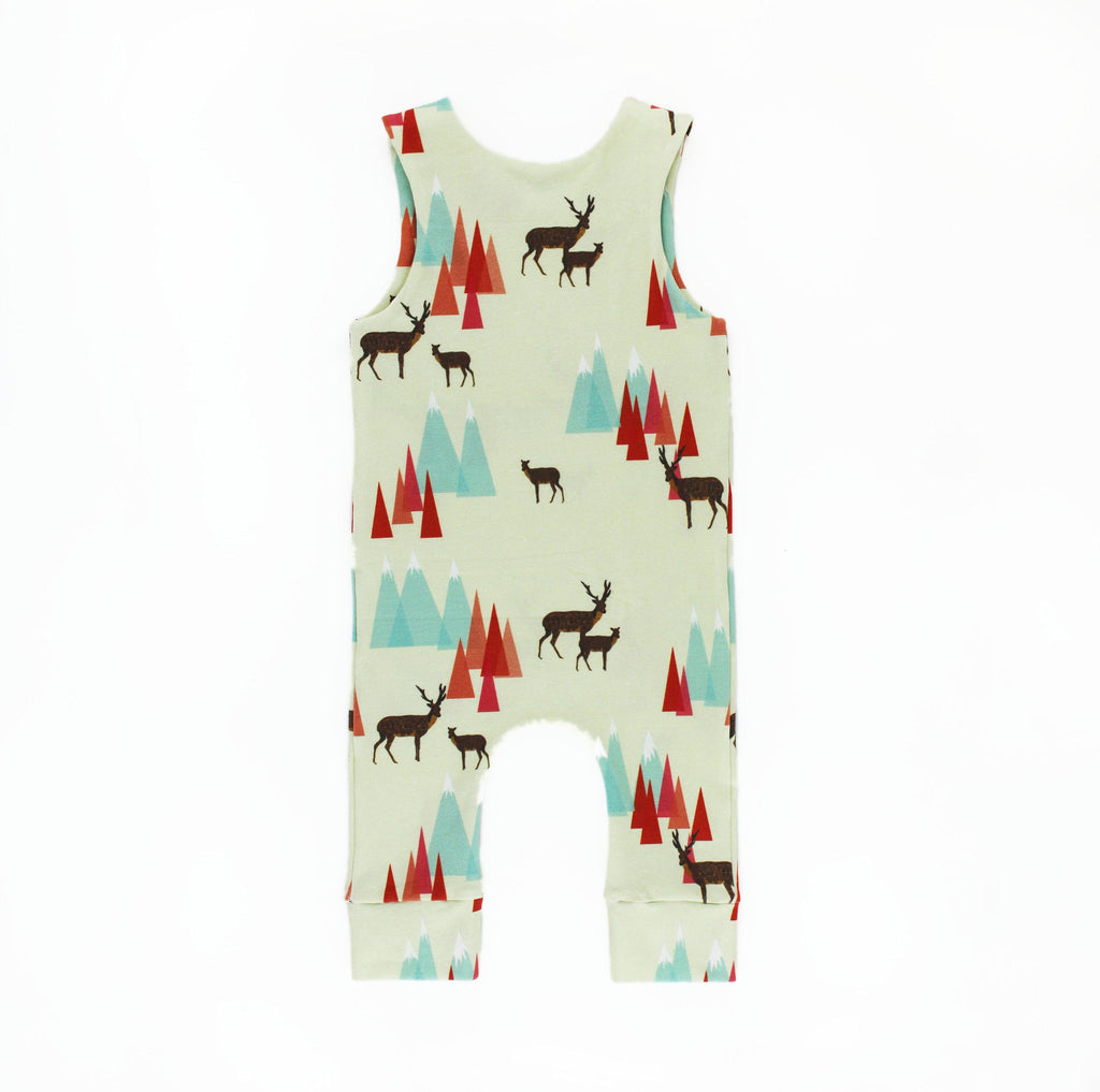 the back of the woodland romper sewing pattern