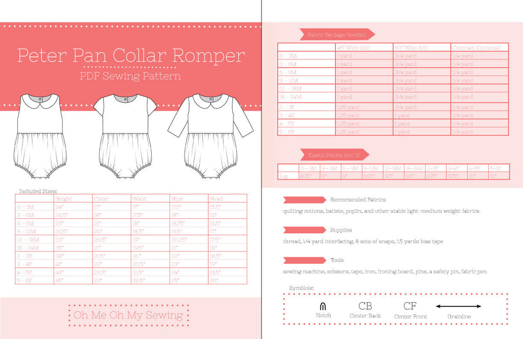 The Peter Pan Collar romper PDF Sewing Pattern