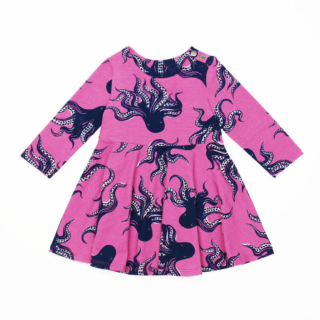 Octopus Fabric Knit Long Sleeve Dress PDF Pattern on White Background