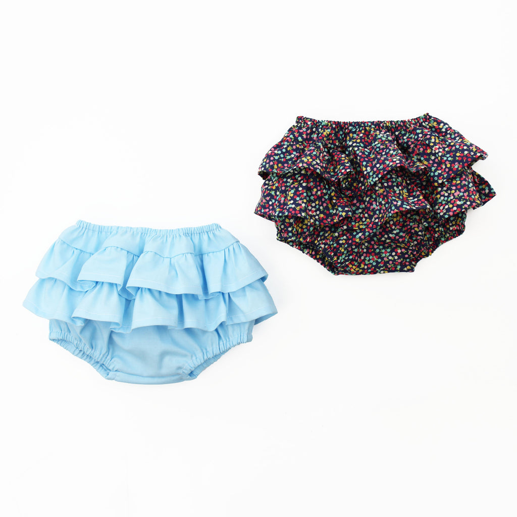 ruffle baby bloomers sewn in floral and blue fabrics
