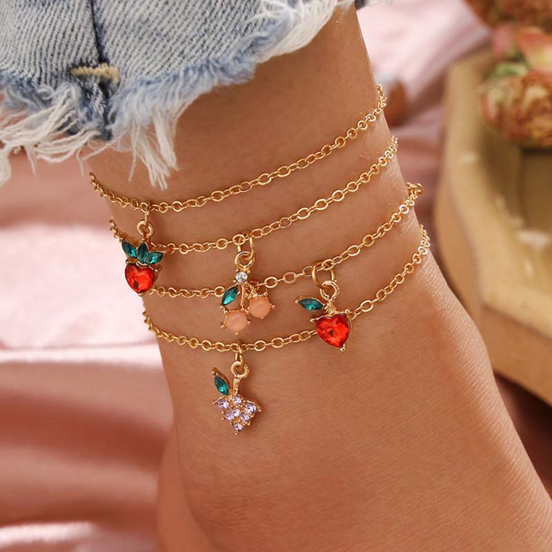 4-piece fruity anklet set - Trill Angelz