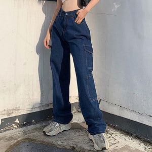 Baggy cargo-style denim jeans - Trill Angelz