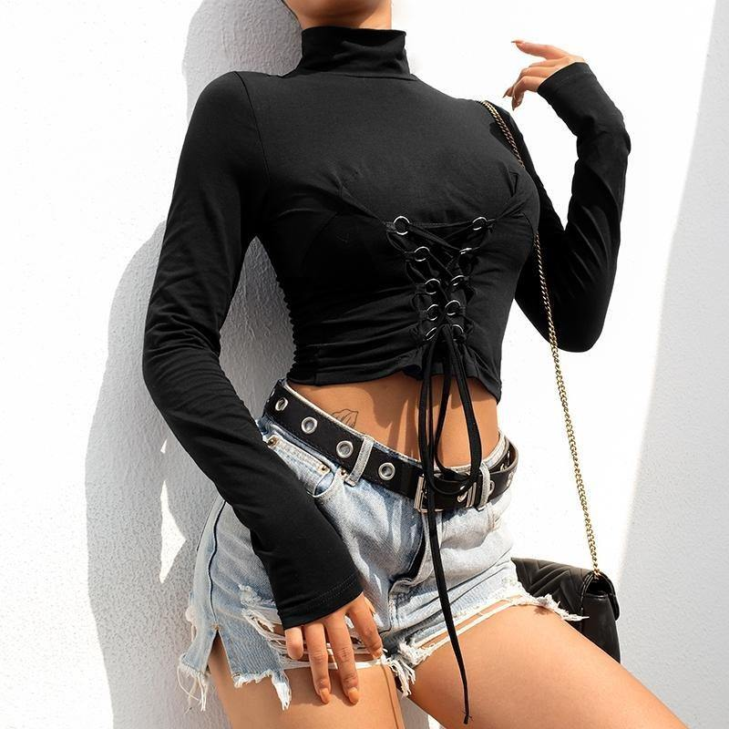 Black corseted turtleneck top - Trill Angelz