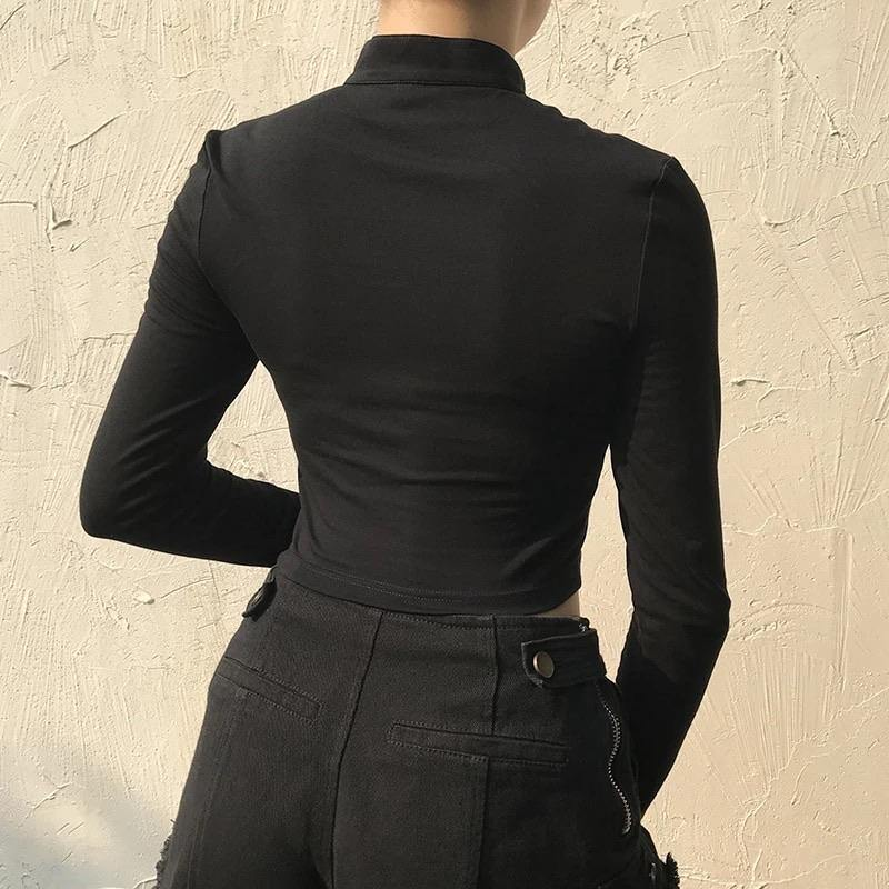 Black cut-out long sleeve top with buckled collar - Trill Angelz