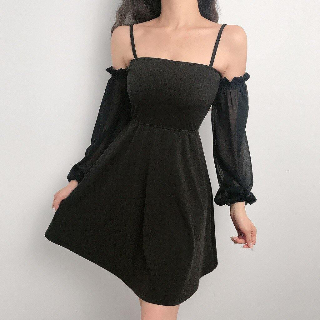 Black Mini Dress With Puff Sleeves - Trill Angelz