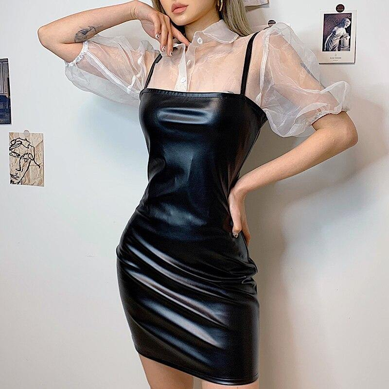 Black mini leather dress - Trill Angelz