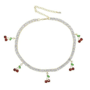 Cherry pendant tennis chain necklacce - Trill Angelz