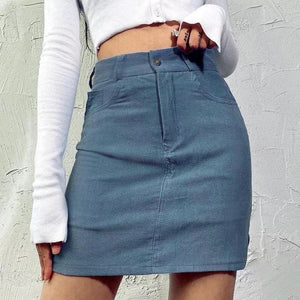 Corduroy Blue High-waisted skirt - Trill Angelz