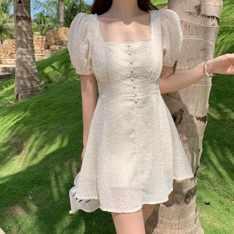 Cream Chiffon Embroidery Dress - Trill Angelz