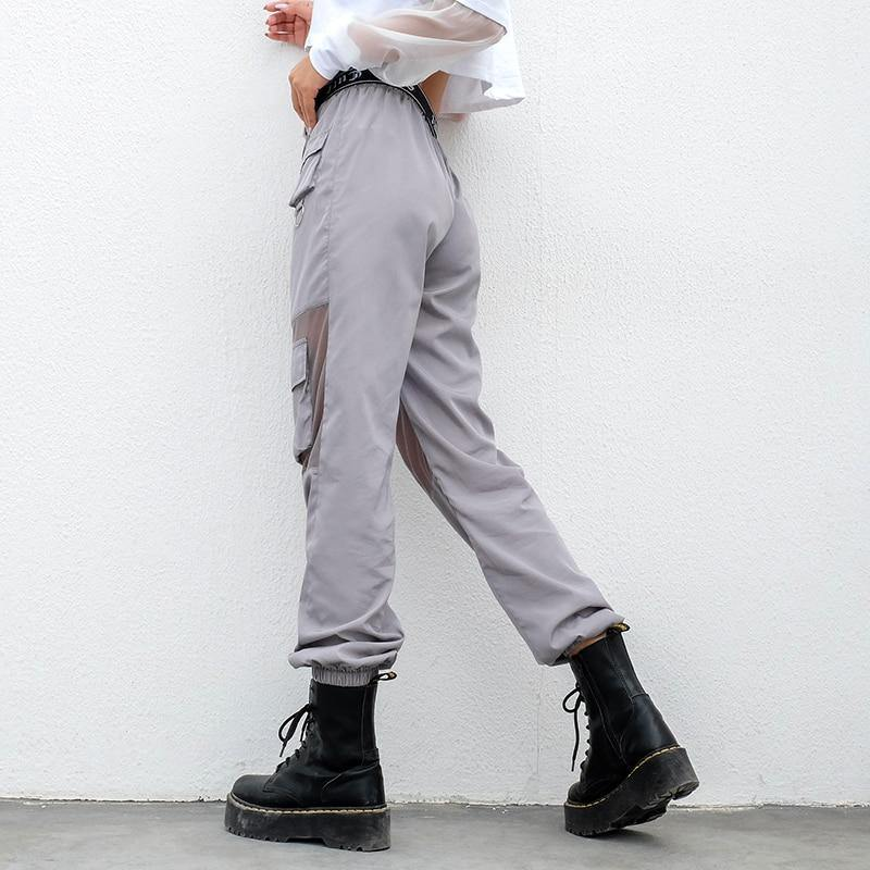 High waisted grey mesh cargo pants - Trill Angelz