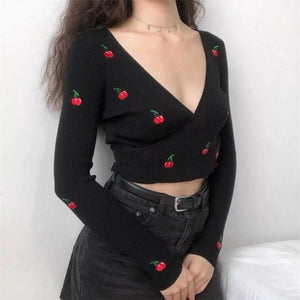 Knitted cherry wrap top - Trill Angelz