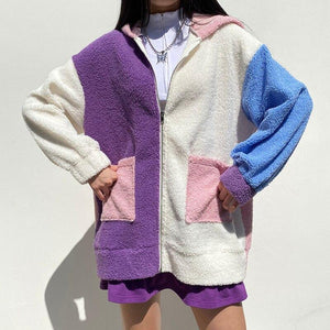 Oversized fleece patchwork jacket - Trill Angelz