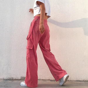 Pink high waist cargo pants - Trill Angelz