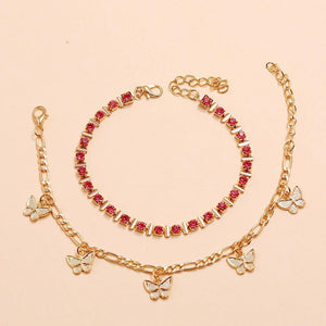 Pink'n'Gold butterfly anklet set - Trill Angelz
