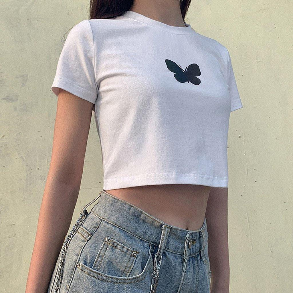 Reflective butterfly print tee - Trill Angelz