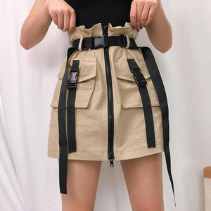 Safari style khaki mini skirt - Trill Angelz