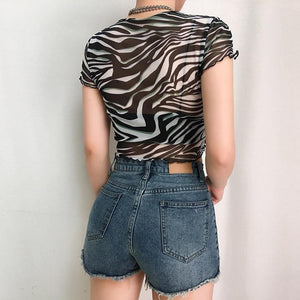 Zebra-print mesh crop top - Trill Angelz