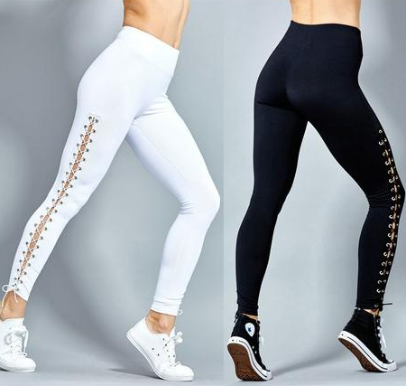 Solid Cross Bandage Elastic Leggings - 2 Colors Available -  S/M/L/XL