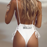 """HOLLA!"" High Cut Swimsuit - 2 Colors Available - S/M/L"