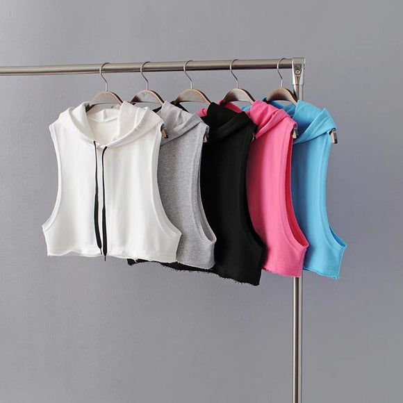 Cotton Hoodies Breathable Crop Top - 5 Colors Available - S/M