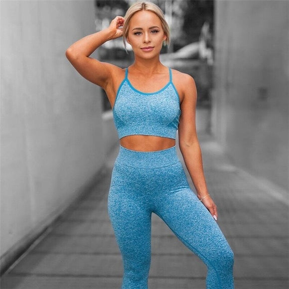 Sport Suit Gym Yoga Set Bra+Pants - 2 COLORS AVAILABLE - S/M/L/XL/XXL